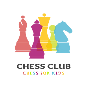 Chess club for kids image with several colorful chess pieces