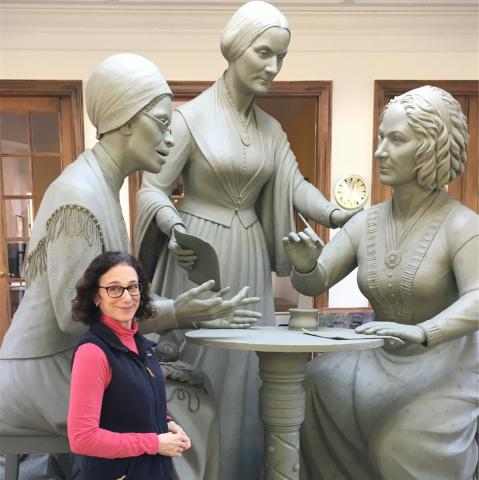 Meredith Bergmann with Women's Monument Sculpture